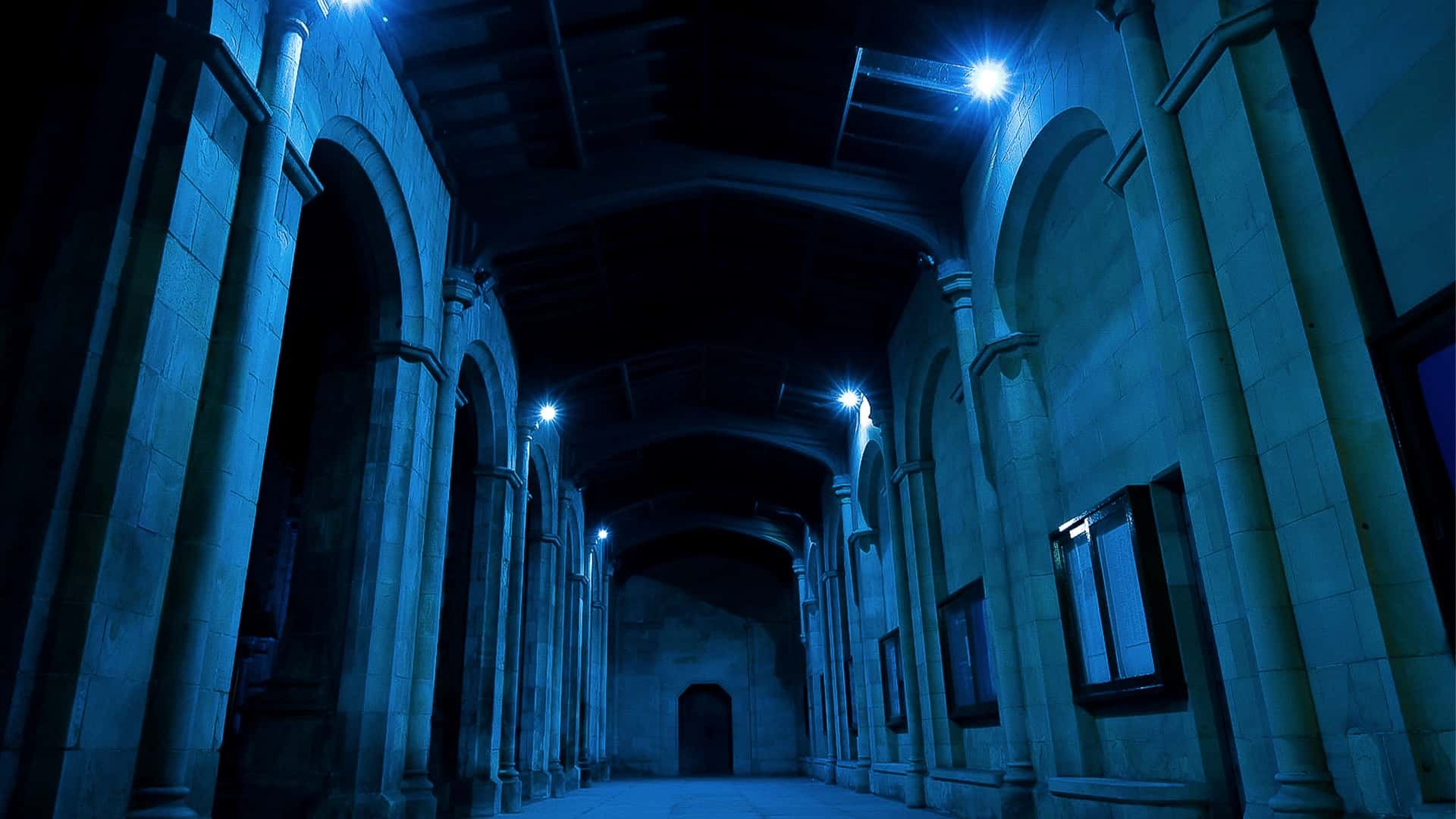 St Salvator's Chapel with blue lights