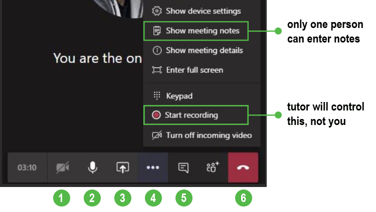 Image of Team meeting toolbar that shows the different options available