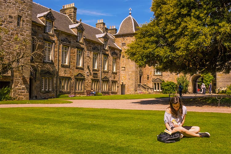 Student sitting in St Marys Quad
