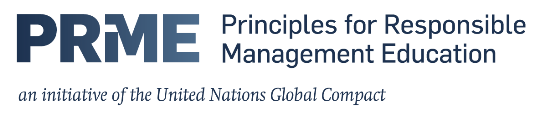 Principles for Responsible Management Education (PRME) logo, saying, 'an initiative of the United Nations Global Compact'