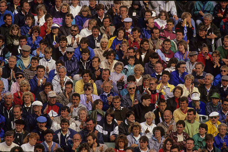 The crowd of spectators follow the action of the 1990 Dunhill British Masters Championship at Woburn. Photograph © Lawrence Levy Photographic Collection.