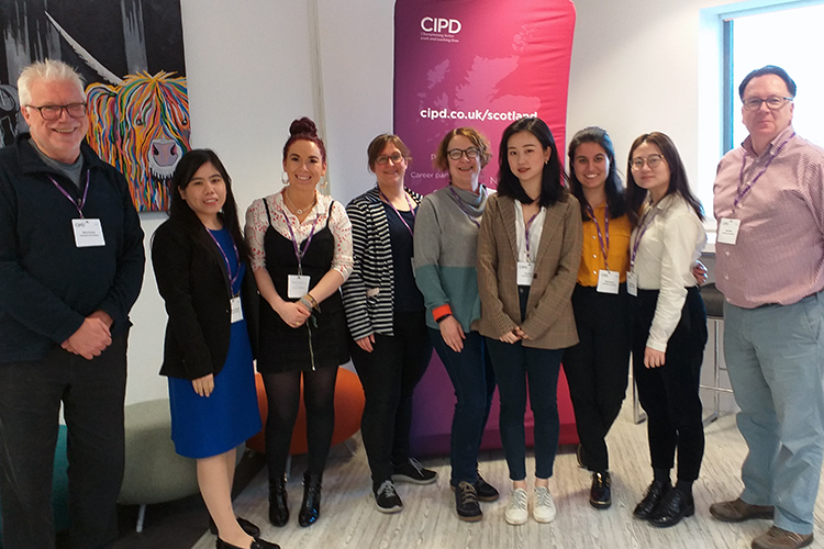 Students and staff from University of St Andrews, Abertay University and Fife College at CIPD's student conference in HRM, Glaswow, February 2020