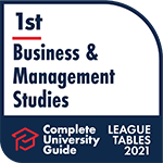 The Complete University Guide 2021 badge for best in business and management studies