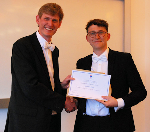 Joint winner of the Astrophysics BSc project prize.