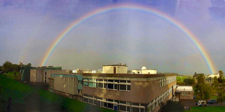 Double rainbow over the Physics and Astronomy building.