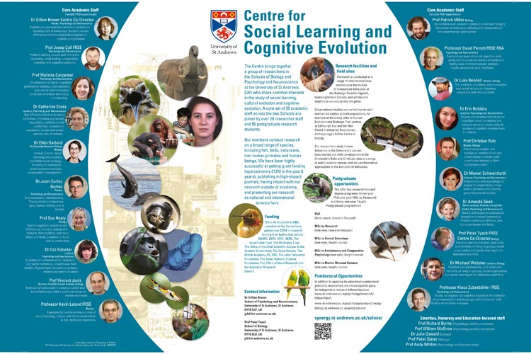 Poster showing members the Centre for Social Learning and Cognitive Evolution