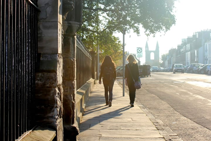 Students walking along North Street in St Andrews