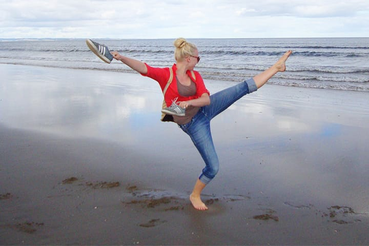 Student dancing on West Sands beach