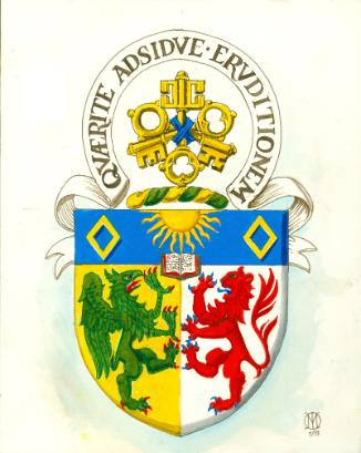 The coat of arms for the BA (International Honours) programme which features crossed keys, gold diamonds, a rising sun, an open book, a griffin, and a lion rampant