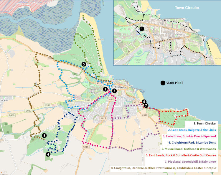 Map of St Andrews pointing out eight public walking paths