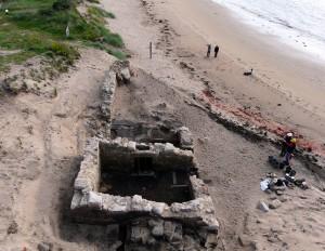 Sixteenth century saltpan at Brora during excavation