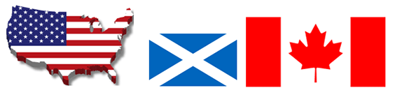 us, scottish and candian flags