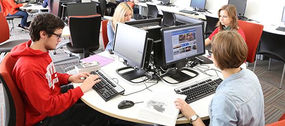 students sitting at computer