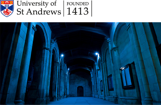 The Quad lit up blue, in support of the NHS