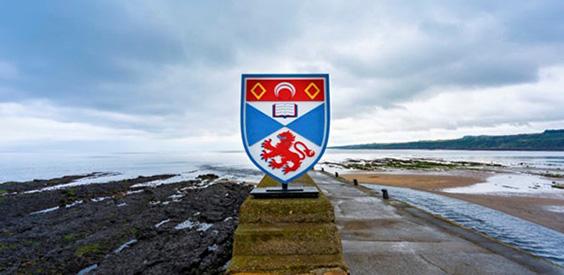 st andrews shield on beach