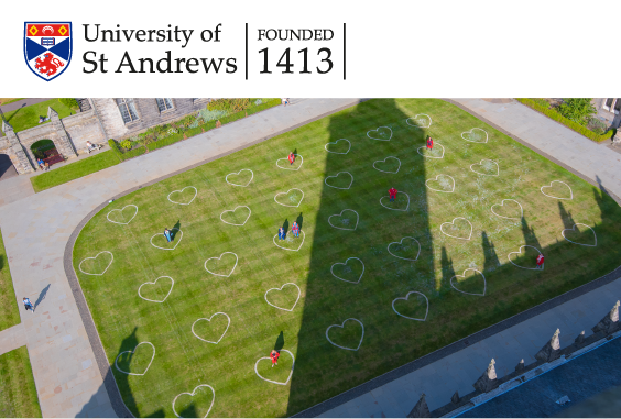 aerial view of hearts drawn on quad grass