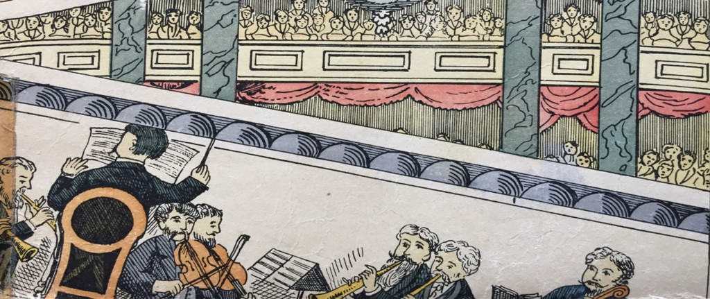 coloured cartoon of an orchestra
