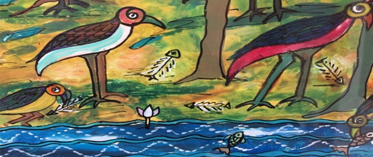 detail bird painting