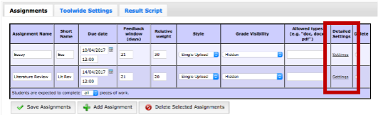 Screenshot of Coursework Configuration overview with Assignment Settings link highlighted