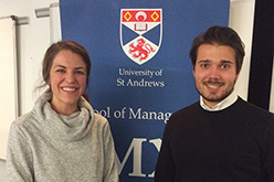 Careers Advisor Kristyn Emmer with MSc Finance and Management student Max Schneider, MX Talk, 6 March 2019
