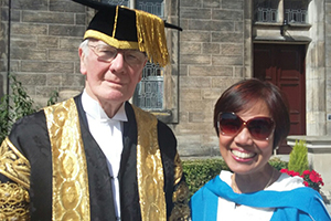 Dr Kelly Macatangay with the University Chancellor, Graduation, June 2019